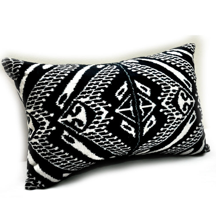 Velvet Ikat pillow cover Soft Hand woven Black and White - Pure Silk.  Size - 15