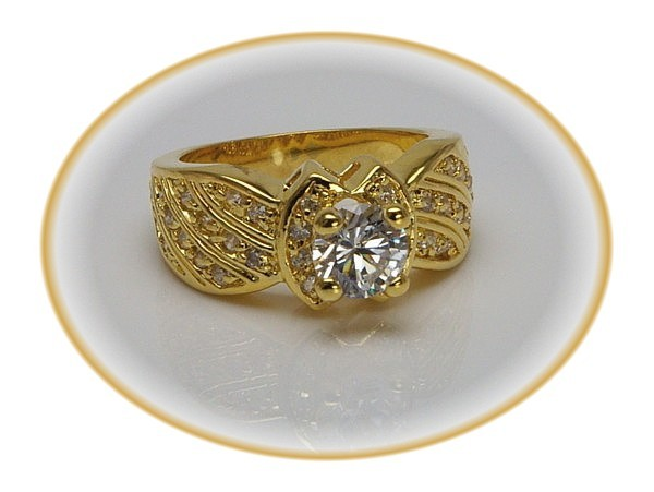 .75 ct CZ ENGAGEMENT Wedding RING - SZ 6 Gold Pl. 14K