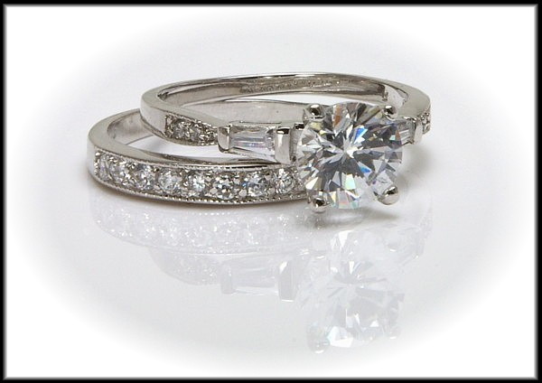 2 ct Solitaire CZ Wedding Ring SET - SZ 5 - GORGEOUS!