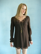 CHLOE Sheer Silk Designer Mini Dress Top 42 S M Brown   - Victoria - Bonanzle