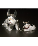 Vintage Figurine Bull Dog And Pup Ceramic Minia... - $12.00