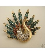 Vintage Enameled Peacock Brooch with Rhinestone... - $35.00