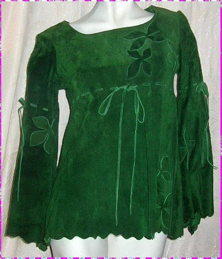 Vintage Green Leather Over Blouse 1960s Hippie Boho Chic Floral Appliques