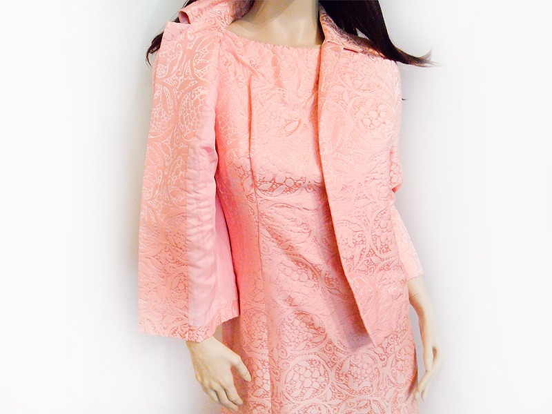 Vintage 1960  Pink Brocade Dress  Coat Approx  size 10