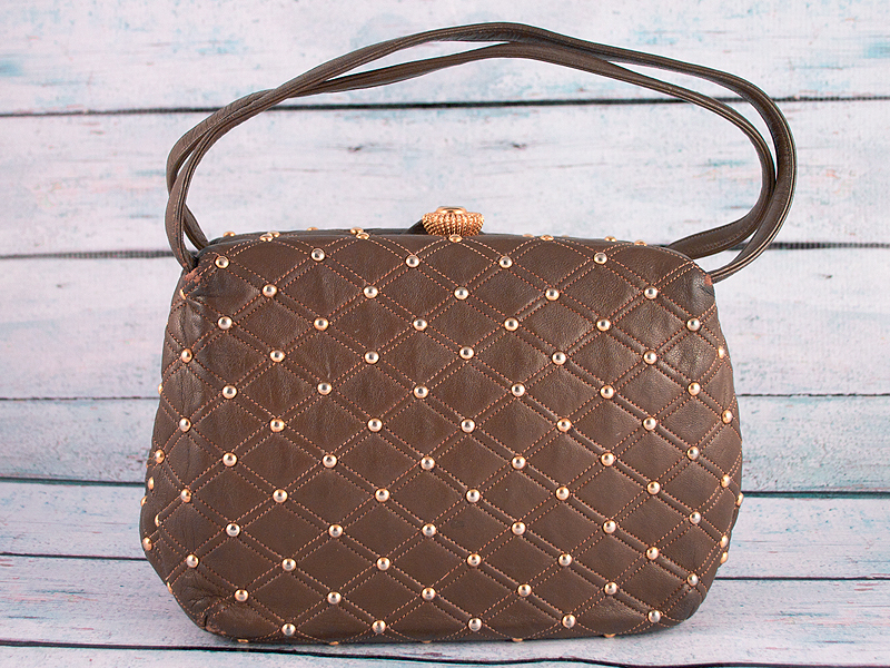 Vintage 60's ROSENFELD Quilted Leather Studded Handbag