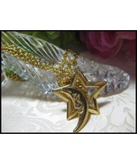 3 Chain Gold Tone Celestial Moon & Star Toggle ... - $5.00