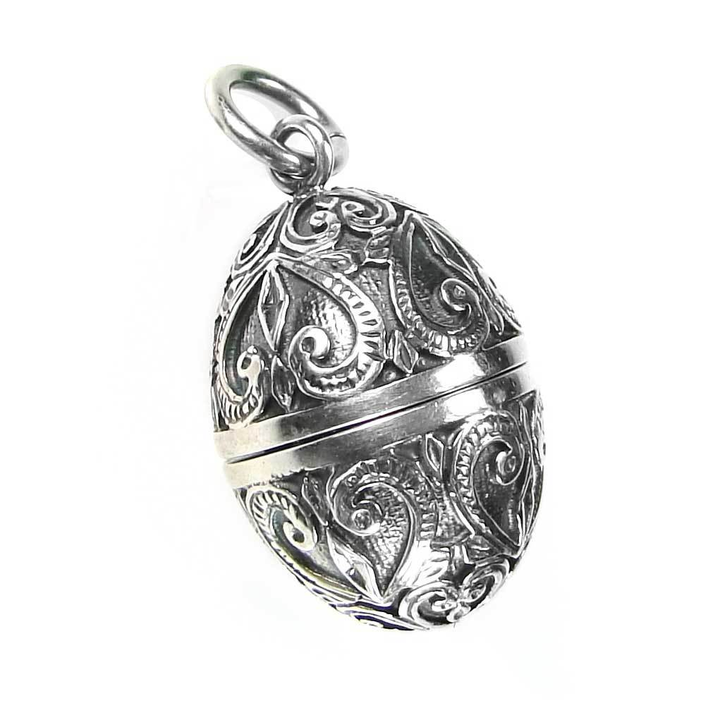 Gerochristo 3464 Sterling Silver Ornate Egg Locket