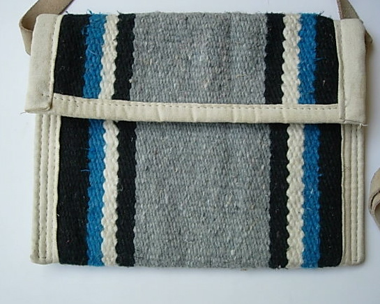 Southwest Style Wool Rug Handbag With Leather Strap
