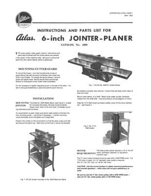 Atlas 6 Inch Jointer-Planer Manual 1950