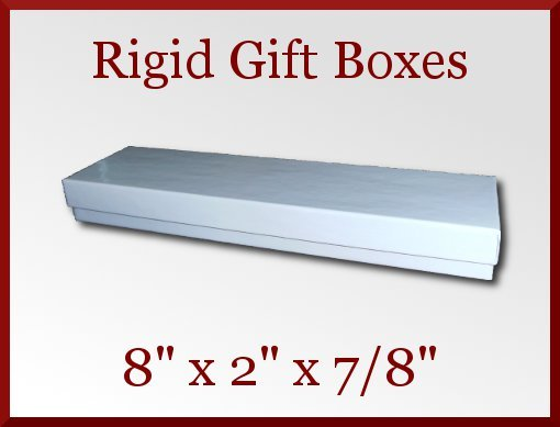 12 White Gloss Rigid Bracelet Gift Boxes 8 x 2 x 0.875 in Jewelry Retail