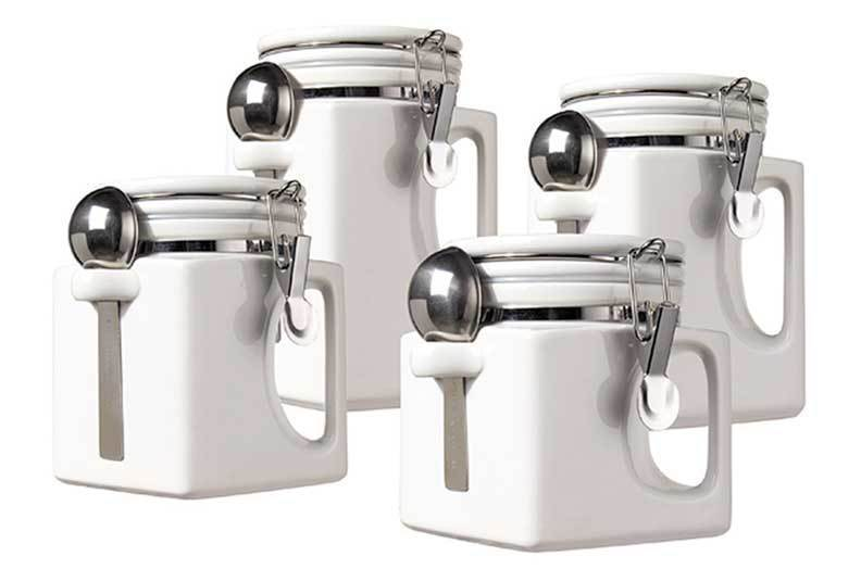 Oggi kitchen canisters oggi airtight stainless steel for Kitchen set rate