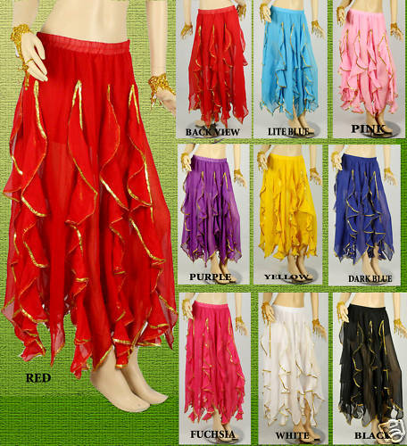 Tribal Belly Dance  Dancing Ruffle Wave Skirt 6 colors