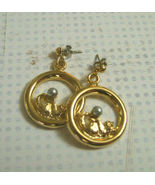 New Kitty Cat Circle Dangle Pierced Earrings Go... - $6.95