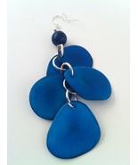 BRAND NEW Hand Made Blue Tagua Earrings, Vegeta... - $10.00