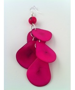 BRAND NEW Hand Made Hot Pink Tagua Earrings SALE! - $15.00