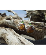 Brown Tiger's Eye Peridot earrings Sterling Silver - $12.99