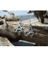 White Topaz Scrollwork sterling earrings - $12.99
