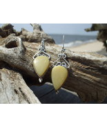 Pear shaped Landscape Jasper Earrings Sterling ... - $12.99