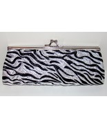 White Zebra Animal Print Pattern Clutch Evening Purse Hand Bag Detachable Chain