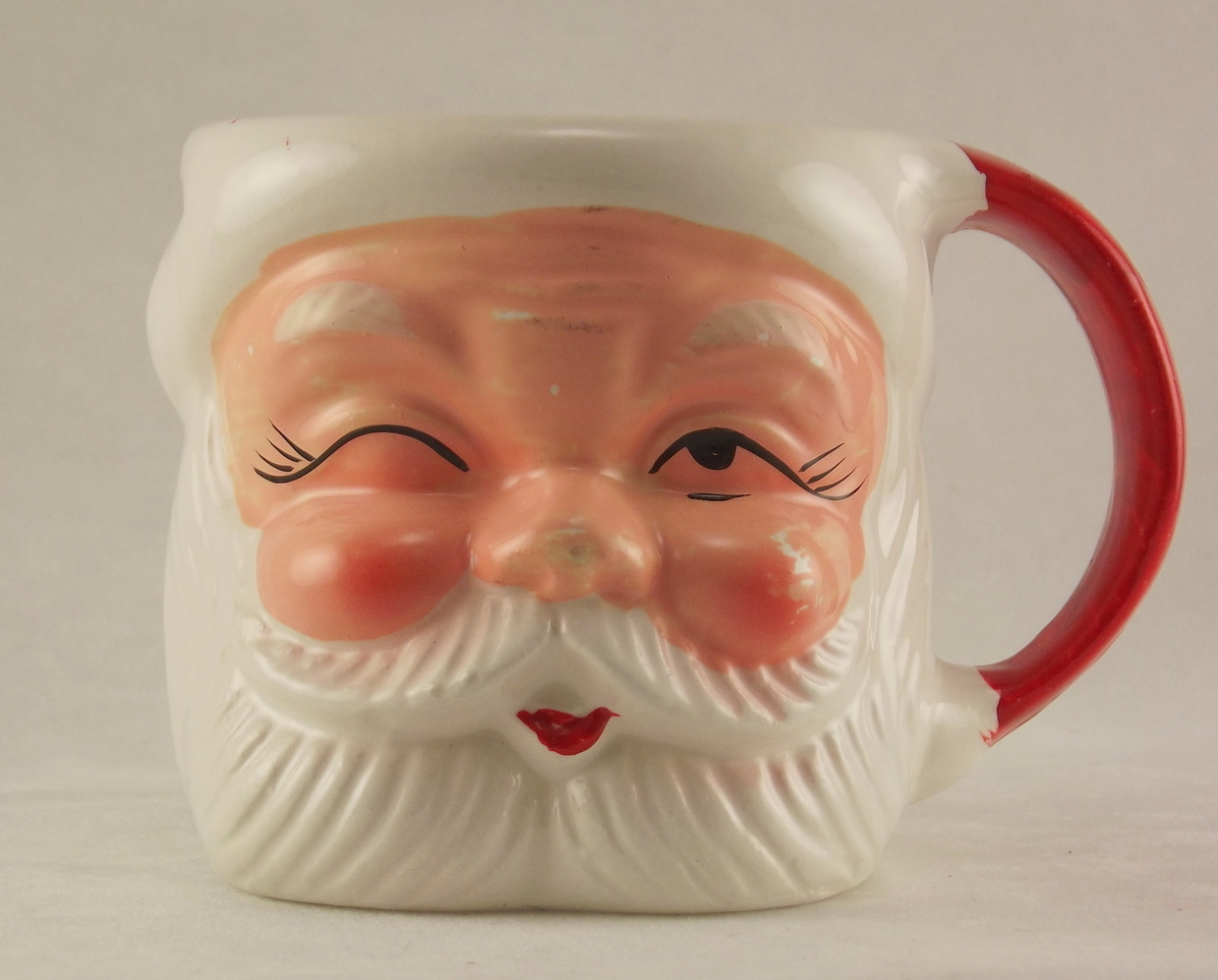 Vintage winking Santa ceramic collectible Christmas holiday mug made in Japan