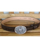 Full Grain Cowhide Western Belt with Buckle Ranch Hand on Back Size 34