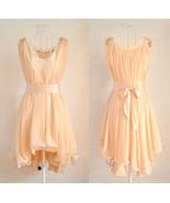Angelic Spring. Peach Chiffon Wavy Hem Sleevele... - $97.00