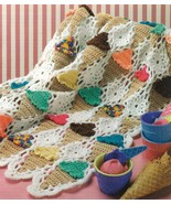 RARE~ICE CREAM CONE AFGHAN CROCHET PATTERN - £19.08 GBP
