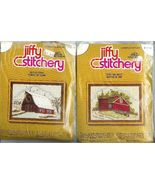 Crewel Embroidery 2 Kits Winter Summer Barn Jif... - $9.93