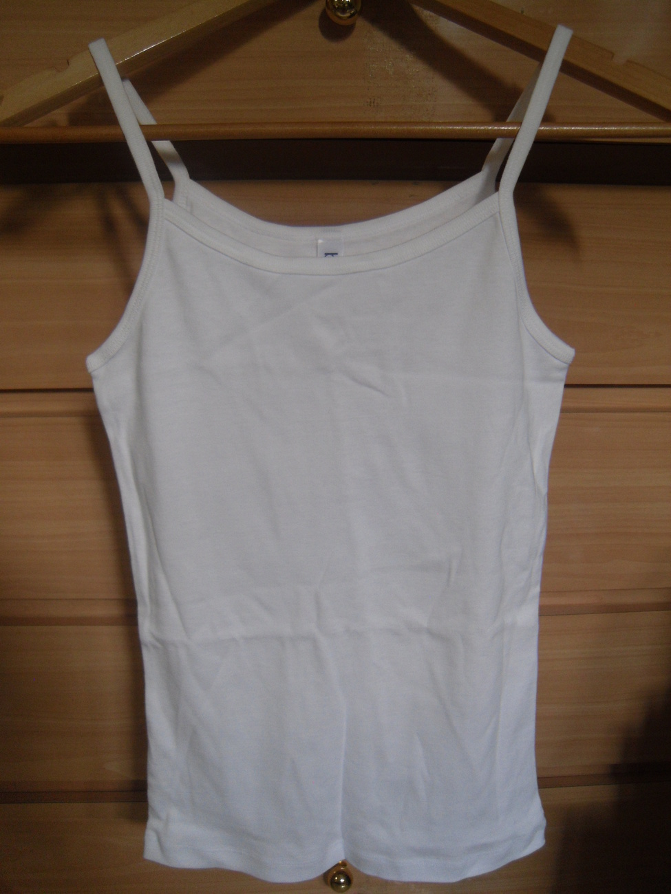 Bella White Spaghetti Strap Tank Top Size Medium 100% Cotton NEW