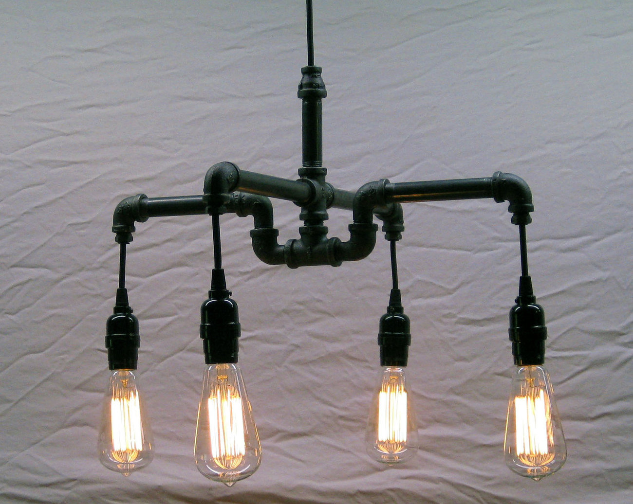Industrial - Steampunk Black Malleable Iron 4-Bulb Chandelier