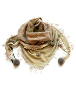 Fashion Warmer Triangular Scarf Shawl decorate with yarn balls s10 Free shipping
