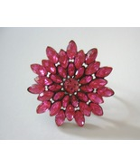 Gorgeous Pink Flower Cocktail Ring Plus Size - $10.00