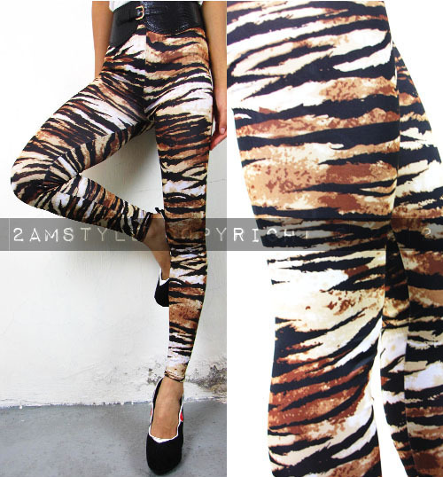 Women Legging Tight Pant Retro Vintage Brown Tiger Patterns E1438