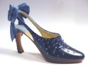 Forever Yours Blue Rhinestone Slingback Curved Heel Full Bow Just the Right Shoe