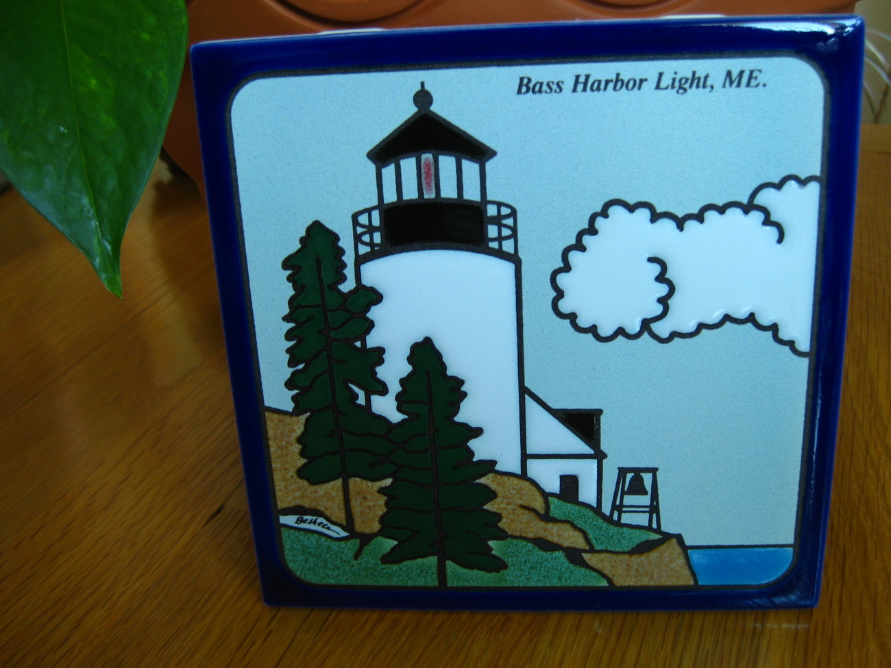 * BESHEER * BASS HARBOR LIGHT * HAND PAINTED ART TILE/TRIVET