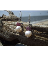 Pink Tourmaline Freshwater Pearl Sterling Silve... - $12.50