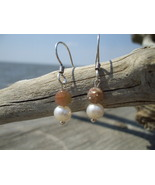 Pale Pink Tourmaline Pearl earrings sterling si... - $12.50