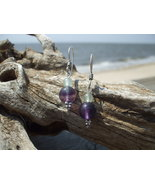 Purple Flourite Green Aventurine Earrings Ster... - $12.50