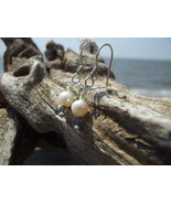 Genuine Pearl  Iolite and Peridot Sterling earr... - $12.00