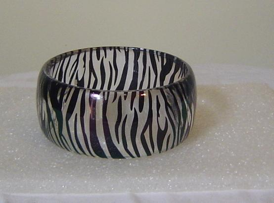 Zebra Clear Wide Bangle Bracelet