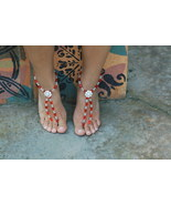 Romantic Ruby Handcrafted Beaded Barefoot Sandals - $69.99