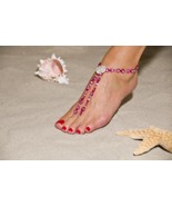 Pink Lady Handcrafted Beaded Barefoot Sandals - $69.99