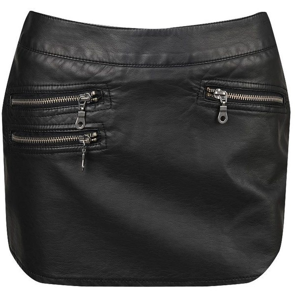 Forever 21 Sexy Black Vegan Faux Leather Pleather Zip Mini Moto Skirt Skort S