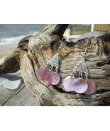Pink mother of pearl disc silver earrings Celti... - $8.99