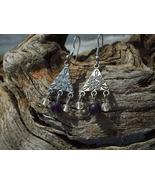 Purple and Clear Celtic design bead earrings ha... - $8.99