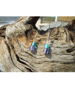 Purple and aqua glass bead earrings handmade si... - $7.99