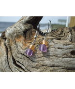 Square purple and peach glass bead earrings sil... - $7.99