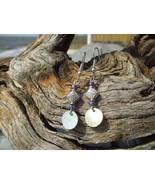 Mother of pearl and blue bead earrings handmade... - $8.99