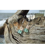 Square Aqua and Peach glass bead earrings  - $7.99