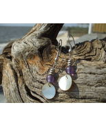 Mother of pearl and purple frosted glass bead e... - $7.99